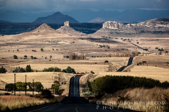 Country road leading to Drakensberg and Lesotho, South Africa