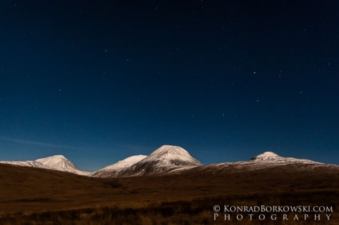 Moonlit and Snow Covered Paps of Jura, Scotland