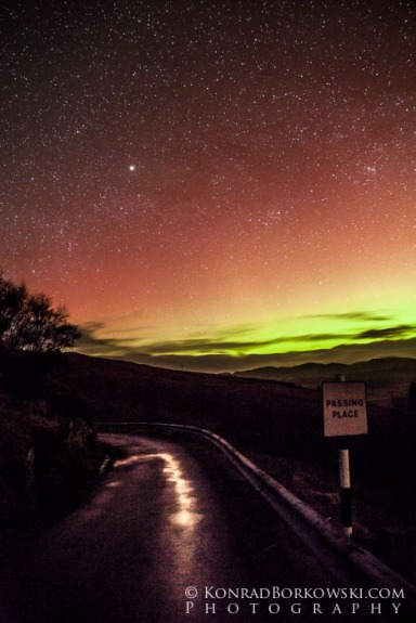 Northern lights over Jura's only road, Tarbert, Isle of Jura.