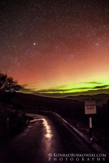 Northern lights over Jura's only road, Tarbert, Isle of Jura.