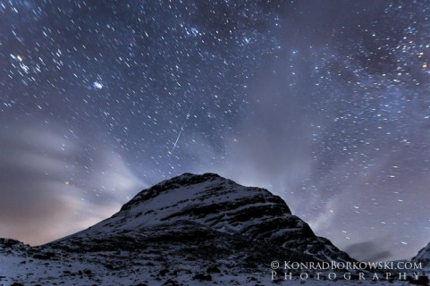 Starry Night and shooting star over Liathach, Torridon, Scottish Highlands
